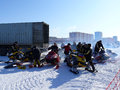 Snow cross country race nadim russia april unknown athletes prepare for competition on snowmobiles jump Royalty Free Stock Photography