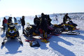 Snow cross country race nadim russia april unknown athletes prepare for competition on snowmobiles jump Stock Photo