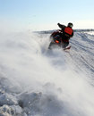 Snow cross country race nadim russia april unknown athletes snowmobile on speed jump Stock Photo