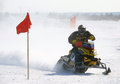Snow cross country race nadim russia april unknown athletes snowmobile on speed jump Royalty Free Stock Photo