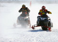 Snow cross country race nadim russia april unknown athletes snowmobile on speed jump Stock Image