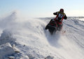 Snow cross country race nadim russia april unknown athletes snowmobile on speed jump Royalty Free Stock Photography