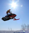 Snow cross country race nadim russia april unknown athletes snowmobile on speed jump Stock Photos