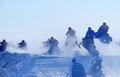 Snow cross country race nadim russia april unknown athletes snowmobile on speed jump Royalty Free Stock Images