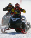 Snow cross country race nadim russia april unknown athletes snowmobile on speed jump Royalty Free Stock Image