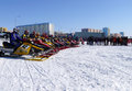 Snow cross country race nadim russia april unknown athletes at the start the beginning of the competition athletes snowmobile on Stock Photo