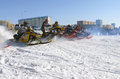 Snow cross country race nadim russia april unknown athletes at the start the beginning of the competition athletes snowmobile on Stock Photos