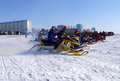 Snow cross country race nadim russia april unknown athletes at the start the beginning of the competition athletes snowmobile on Stock Image