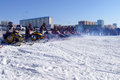 Snow cross country race nadim russia april unknown athletes at the start the beginning of the competition athletes snowmobile on Stock Images