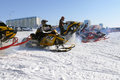 Snow cross country race nadim russia april unknown athletes at the start the beginning of the competition athletes snowmobile on Royalty Free Stock Photo