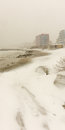 Snow drifts on the beach in Pomorie, Bulgaria