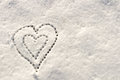 Snow with drown heart shape filter applied Stock Image