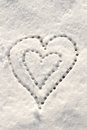 Snow with drown heart shape filter applied Stock Photo
