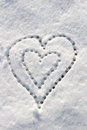 Snow with drown heart shape filter applied Stock Photography