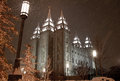 Snow falling in salt lake city image of the mormon temple with on it Royalty Free Stock Photo