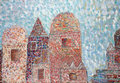 Snow falls on the old knight s castle naive child oil painting cardboard Royalty Free Stock Photography