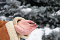 Snow falls on women's hands, winter season Royalty Free Stock Photo