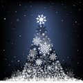 Snow fir tree the cristmas on the dark blue mesh background Stock Photos