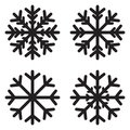 Snow flake icon set. Black silhouette snowflake eight-pointed element isolated on white Sign and Symbol of winter, frost, Royalty Free Stock Photo
