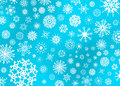 Snow flake illustration on blue an assorted variety of flakes a background Royalty Free Stock Image
