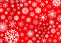 Snow flake illustration on red an assorted variety of flakes a background Royalty Free Stock Photography