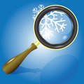 Snow flake and magnifying glass colorful illustration with for your design Royalty Free Stock Photo