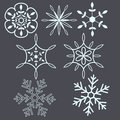 Snow flakes seasonal decorative set Stock Images