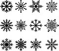 Snow flakes a variety of and ice crystal type icons Stock Photography
