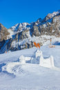 Snow fort in mountains ski resort innsbruck austria nature and sport background Royalty Free Stock Photography