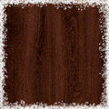 Snow frame on dark wood background maroon Royalty Free Stock Photography