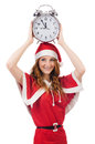 Snow girl with clock on white Royalty Free Stock Image