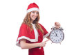 Snow girl with clock on white Stock Photo