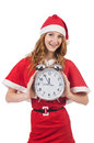 Snow girl with clock on white Royalty Free Stock Photography