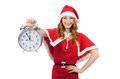 Snow girl with clock on white Royalty Free Stock Photo