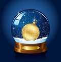 Snow globe with Christmas ball Royalty Free Stock Photo