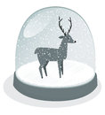 Snow globe illustration of a reindeer in a Royalty Free Stock Images