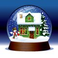 Snow globe raster version of vector with snowman green wooden christmas house covered with and spruce within against a dark Stock Images