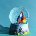 Snow globe with sailing ship Royalty Free Stock Photos