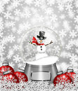 Snow Globe Snowman and Christmas Tree Ornaments Royalty Free Stock Photo