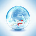 Snow globe snowman family in a Stock Images