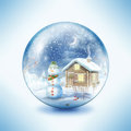 Snow globe snowman family in a Stock Photography