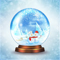 Snow globe snowman family in a Royalty Free Stock Photos