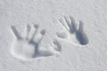 Snow Hands Stock Photo