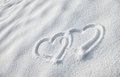 Snow heart shape white with drawn Stock Photography
