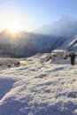 Snow and Himalaya Machapuchare mountain with sunrise, at Annapurna base camp, Nepal Royalty Free Stock Photo