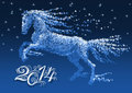 Snow horse greeting card with a symbol of the new year Stock Photography