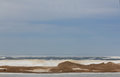 Snow and ice cover landscape covered beach lake michigan in april Royalty Free Stock Photos