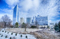 SnowPopular Charlotte Area  Transit System ice covered city and streets of charlotte nc usa