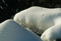 Snow and ice on a rocky stream flowing Stock Image