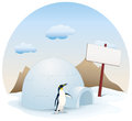 Snow igloo house on white snow illustration of a little top of the hill at sunny day Royalty Free Stock Images